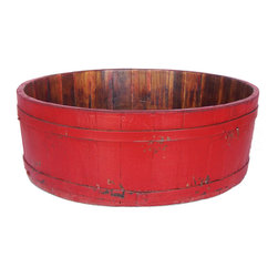 Antique Revival - Red Vintage Marie Basin - This vintage, round wooden basin is a sturdy little piece that works well for storage or simply to display on its own. It includes iron bands around the rim and base to strengthen the structure. The bright red paint adds a splash of color to any room.