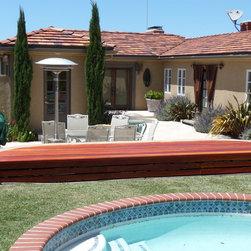 Redwood Pool Bench with Storage, Palos Verdes - T.K. O'Rourke