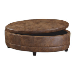 Gideon Oval Leather Storage Bench - The Casual, Time-worn Feel Of Natural Tanned Leather Is Captured In Velvety Smooth Fabric On This Bench Designed For Extra Seating And Generous Storage. Sturdy Wood Frame And Lift Off Top Are Padded And Tailored With Decorative Baseball Stitching, Button Tufting, And Edge Welting. Bulbs Included: No