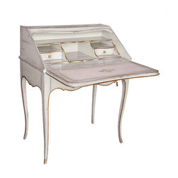 "Louis XV Style Drop-front Writing Desk with White Finish - Louis XV style drop-front writing desk with antiqued white finish, antiqued gold accents, solid brass hardware and ivory leather writing surface with gold trim. One exterior drawer plus two drawers and letter compartments inside. Made in France by Moissonnier; 29¼"" w. x 18"" d. x 35½"" h. Available in custom finishes."