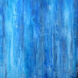 """Rain"" (Original) By Devika Keskar - I Wanted To Create A Painting Which Was An Abstract Rendering Of A Huge Downpour Of Rain.  I Love The Rainy Season And So Wanted A Piece That Almost Looked Drenched In Various Shades Of Blue.  This Piece Is Very Textured And Its Various Shades Of Blue Will Be A Calming Addition To Any Space."