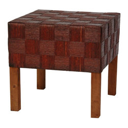Oriental Furniture - Woven Fiber Stool - Mahogany - Simple, lightweight, natural fiber accessory. Great for use as a tropical style stool, plant stand, or occasional table. Spun plant fiber cord holds color beautifully.