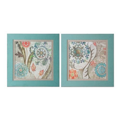 Grace Feyock - Grace Feyock Royal Tapestry Transitional Wall Art X-79314 - Prints are accented by oatmeal linen liners and surrounded by frames that have been covered in a loosely woven, turquoise linen fabric.