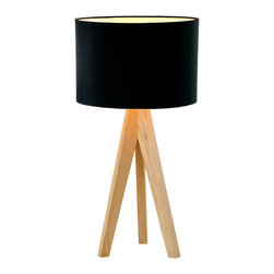 Wooden Tripod Table Lamps Home Lighting Fixtures with Black Shade - Wooden Tripod Table Lamps Home Lighting Fixtures with Black Shade, tripod wood base in nature wood color. cylinder fabric shade in black. E27,max.1*60W