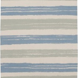 Summer Stripe Printed Cotton Rug, Pool - A flat weave cotton rug works well indoors or out. I love the mint green and light blue stripes and the casual brushstrokes.