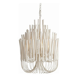 Arteriors - Tilda Chandelier - Add something truly uplifting to your favorite contemporary setting with this stunning fixture. A throng of curved iron arms lofts slim wooden sticks skyward, the combination of white and light creating an inspirational effect.