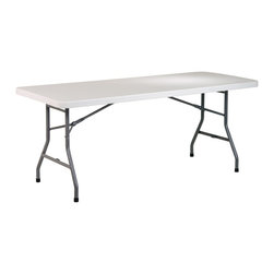 Office Star - Folding Table, 6 Foot Resin Multi-Purpose - Enjoy the extra space this folding table offers for all your party needs!  This 6 foot Multi-Purpose folding table features the most durable resin construction and a solid metal frame to outlast prolonged use all year round. * Folding Table, 6 Feet long. Resin construction. Metal Frame. 72 in. W x 30 in. D x 29.25 in. H. 72 in. W x 30 in. D x 29.25 in. H