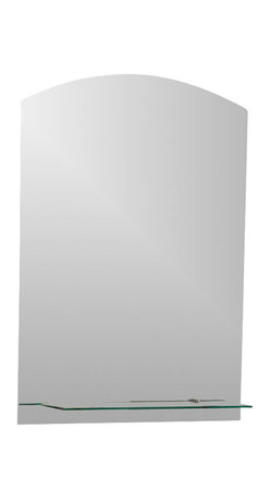 Decor Wonderland Mirrors - Decor Wonderland The Arch Frameless Mirror with Shelf - This beautiful frameless arch mirror has a modern design without the hard edges of the post modern style. The Arch Frameless Mirror features a shelf perfect for a bathroom or hallway.