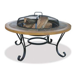 "Uniflame 34"" Wide Slate Tile and Faux Wood Outdoor Firebowl - The wrought iron base, black steel fire bowl, and slate tile and faux wood stand make the Uniflame 34"" Wide Slate Tile and Faux Wood Outdoor Firebowl an aesthetically pleasing and safe addition to your outdoor patio or garden area.-Mantels Direct"