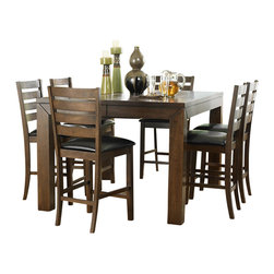 "Homelegance - Homelegance Eagleville 7-Piece Counter Dining Room Set in Brown - Your dining area will become a comfortable and exquisite gathering place when you add this durable and stunning Eagleville collection. The versatile dining height table and counter height table in birch veneers feature butterfly leaf for convenient extra surface space, while substantial block table legs stand prominently to provide extra structural reinforcement. Chairs, 60"" bench, and server are proportionally scaled to round up this offering."