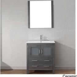 Virtu USA Dior 30 inch Single Sink Vanity Set in Zebra Grey -