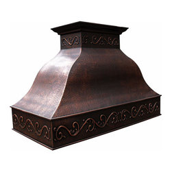 """myCustomMade - Copper Oven Hood """"San Francisco"""", Natural Fired, 48"""", Wall Mount - Mexican design makes this copper oven hood a great addition to the kitchen. Customize the traditional copper hood by choosing natural fired, coffee, honey or antique finishing. """"San Francisco"""" style is produced as 30, 36 or 48 inches wide. Its depth is 22"""", height 36"""" and it takes about thirty days to deliver. Once purchased specify the hood 210000015 version as wall mount or kitchen island. Enjoy free delivery."""