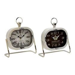 Classic Metal Table Clock, Set of 2 - Description: