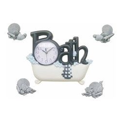 Control Brand - 14 in. Bath Wall Clock w 4 Sea Shell Decor - Bath shape with bathtub, towel and bubbles. Four decor are separated and can be placed randomly on wall. 14 in. W x 1.63 in. D x 11.38 in. H (2.53 lbs.)