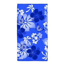 "Eco Friendly Hawaiian ""Aloha Blue"" Bath Hand Towel - Hand Towels are made of a super soft poly fiber fabric with 2mm pile."