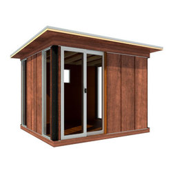 Modern Cabana - I'm in love. I've been scheming a way to get my husband's home office out of our house for 5 years. This shed by Modern Cabana offers multiple sizes and finishing touches so you can make it as fancy or basic as you want. This is the smallest size they offer but they go up to 12x25'.  I love the sliding glass doors and window options. This can be finished to to be a really elegant looking office, guest house or pool house. A very creative way to increase usable square footage without a building permit.