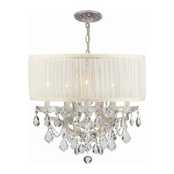 Crystorama - Crystorama 4415-CH-SAW-CLM Brentwood Chandelier - This isn't your Grandmother's crystal. The Brentwood Collection from Crystorama offers a nice mix of traditional lighting designs with large tailored encompassing shades. Adding either the Harvest Gold or the Antique White shade to these best selling skus opens the door to possibilities for these designer friendly chandeliers. The Brentwood Collection has a touch of design flair that will work for your traditional or transitional home.