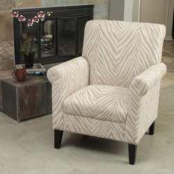 Christopher Knight Home - Christopher Knight Home Bigalow Beige Zebra Fabric Club Chair - The Bigalow club chair adds a lively flare to any room while still maintaining its neutral colors. Fully padded and comfortable for hours of stylish sitting.