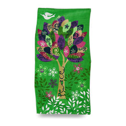 Zeckos - Peace Love and Hope Colorful Tree Green Cotton Beach Towel - This 100% cotton colorful velour beach towel features a groovy peace, love and hope themed print surrounded by leafy vines, flowers and a white dove on a brightly colored green background. It measures 60 inches long, 30 inches wide, has hemmed edges to prevent fraying and is recommended to machine wash in cold water, tumble dry on low heat, and do not bleach. It's the perfect accessory for a day at the beach, on the boat, or for lounging around the pool.