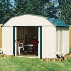Arrow Vinyl Sheridan 10 x 14 ft. Shed - Whether you're looking for a place to stash your tools or your teens, the Arrow Vinyl Sheridan 10 x 14 ft. Shed has you covered. When owning a home, clutter can easily mount without your even noticing it, taking over living spaces like the basement, garage, or yard. This large, multipurpose storage shed offers you a perfect place to organize all those miscellanea - lawn mowers, rakes and brooms, garbage cans, athletic equipment, holiday decorations, children who have decided to learn to play the drums . . . The attractive almond and green-meadow color combination adds a noticeable touch of beauty that compliments any exterior design or landscaping. The gambrel-style roof design both avoids rainwater pooling up top and affords you ample extra head room when grabbing your implements or actually working in the shed. With easy-sliding doors that can be padlocked, this shed keeps your items safe and sound. Made in the United States, this shed is constructed with vinyl-coated electro-galvanized steel, making it five times thicker and stronger than standard steel buildings. With numbered and predrilled parts, this shed can be assembled quickly and easily as a weekend project with basic DIY skills.Additional Features:Exterior Dimensions: 123.25W x 162.75D x 87.88H inchesInterior Dimensions: 118.25W x 157.5D x 86.63H inchesDoor Dimensions: 55.5W x 60H inchesAbout Arrow ShedsEstablished in 1962 as Arrow Group Industries, Arrow Sheds is now the worldwide leader in designing, manufacturing, and distributing steel storage sheds that are easily assembled from a kit. Arrow Sheds hasn't garnered its 12 million customers by resting on its laurels either. The company takes great pride in having listened to their customers over the years to develop quality products that meet people's storage needs. From athletic equipment to holiday decorations, from tools to recreational vehicles, Arrow Sheds prides itself on providing quality USA-built structures that offer storage solutions. Available in a wide variety of sizes, models, finishes, and colors - Arrow's sheds are constructed with electro-galvanized steel to be more affordable, durable, attractive, and easy to assemble.