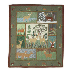 Patch Quilts - Whitetails Grove Quilt Queen 85 x 95 - - Intricately appliqued and beautifully hand quilted.Bedding ensemble from Patch Magic  - The Name for the finest quality quilts and accessories  - Machine washable.Line or Flat dry only Patch Quilts - QQWTGV