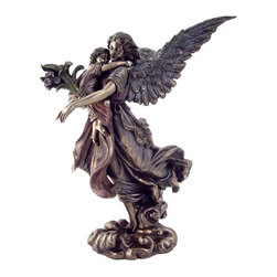 TLT - 11 Inch Cold Cast Bronze Guardian Angel Holding Small Child Statue - This gorgeous 11 Inch Cold Cast Bronze Guardian Angel Holding Small Child Statue has the finest details and highest quality you will find anywhere! 11 Inch Cold Cast Bronze Guardian Angel Holding Small Child Statue is truly remarkable.