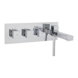 Hudson Reed - Kubix Chrome Thermostatic Wall Mounted Triple Tub Filler Faucet With Diverter - The Hudson Reed Kubix wall mounted thermostatic triple tub shower mixer with diverter features clean, geometric lines for a neat finish to your bathroom. Perfect for creating an ultra-modern look this high quality thermostatic tub shower mixer has been made from solid brass with a chrome plated finish to blend in seamlessly with any decor.