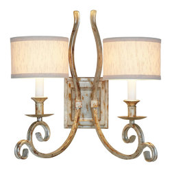 "AF Lighting - AF Lighting Candice Olson Lucy Two Light Soft Gold Double Wall Sconce - AF Lighting 7903-2W Soft Gold Candice Olson ""Lucy"" Two-Light Wall Sconce with Cream Poly Silk Hard-Back Shades, Finished in Soft Gold"