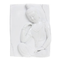 Vintage Maya - Bodhisattva Contemplating Wall Plaque - Chao Zhong, a well-known master of porcelain carving, created this graceful artistic wall plaque. This subtle piece is perfect for hanging in whatever room you consider your sanctuary.