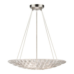 Fine Art Lamps - Constructivism Pendant, 843040ST - Gather some glimmer for your favorite setting. Here, individually cast pieces of glass are hand-laid in a cobblestone pattern, while exposed metal in a silver-leaf finish adds to the sparkle.