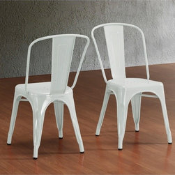Tabouret Bistro Steel Side Chairs, White - If industrial-chic is your style, then look no further than these practical and space-saving stackable metal chairs. Their scratch- and mar-resistant powder coated finish will put your mind to ease when hosting a large holiday party, as you won't have to worry about anything happening to them.