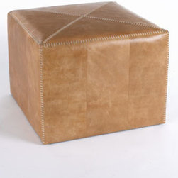 "Jamie Young - Jamie Young Large Buff Leather Ottoman - Ottomans with stitched details are upholstered in your choice of buff leather or white hairhide. From Jamie Young. Imported Large, 25""Sq. x 20""T. Small, 17""Sq. x 17""T."