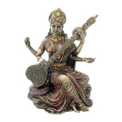 TLT - 5.75 Inch Saraswati Hindu God of Knowledge, Music and Art Statue - This gorgeous 5.75 Inch Saraswati Hindu God of Knowledge, Music and Art Statue has the finest details and highest quality you will find anywhere! 5.75 Inch Saraswati Hindu God of Knowledge, Music and Art Statue is truly remarkable.