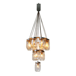 ecofirstart - 3 Tier Mason Jar Chandelier - This chandelier can come with a white ceiling plate and all necessary hardware for direct hard-wire installation into the ceiling, OR it can hang from hooks and then plug into any wall outlet. You can choose the hanging style upon checkout.