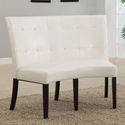 Other Brands - Bossa Dining Height Banquette - White Leatherette - 2YA466D - Shop for Dining Chairs from Hayneedle.com! Who says you have to wear the penguin suit to an elegant dinner party? With the Bossa Dining Height Banquette - White Leatherette your dining table can do the black-tie duty. Crafted with a durable solid birch base finished in a dark chocolate shade this retro-inspired 2-seater bench boasts a sumptuous padded white leatherette seat with webbed no-sag flame-retardant polyurethane foam cushioning for extra comfort. The high curved back is seamed and tufted and durable 10-bolt grooved corner block construction makes for easy assembly. 20-inch seat height.