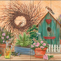 The Tile Mural Store (USA) - Tile Mural - Birdhouse And Herbs - Mt - Kitchen Backsplash Ideas - This beautiful artwork by Mary Lou Troutman has been digitally reproduced for tiles and depicts a bird sitting on a birdhouse.  Images of backyard birds on tiles are great to use as a part of your kitchen backsplash tile project or your tub and shower surround bathroom tile project. Pictures of cardinals on tile, blue jays on tiles and robbins on tiles make a great kitchen backsplash idea. Bring the outdoors in with a birds of the backyard tile mural. You can use a tile mural with birds in the bathroom too for your shower tile project. Consider a tile mural colorful birds for any room in your home where you want to add interest to a plain tile wall area.