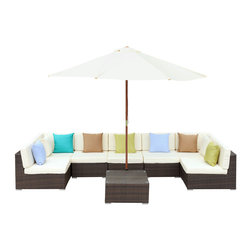 Monterey Outdoor Patio Sectional Sofa Set - Your corner of the world just got bigger. The Surroundings Sectional Sofa Set, takes the great outdoors, and carves out a fashionable nook to call your own. With soft all-weather fabric cushions and a synthetic rattan base, Surroundings takes the most comfortable components of your indoor furniture, and transitions them outside under the sky and open air. The set also comes equipped with a full-size wooden sun shade umbrella.