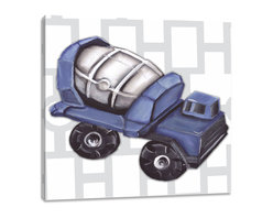 """Doodlefish - Vintage Cement Mixer Toy - There is something about wheels turning while the barrel mixes the concrete for a building project that makes boys love Cement Mixers.  This set of Doodlefish Artwork includes 18"""" x 18"""" Gallery Wrapped Giclee Prints featuring vintage toy trucks on sleek modern backgrounds.  This piece has a painting of a bright blue antique toy cement mixer on a grey and white links pattern.  The wall decor is   If you choose to have this piece personalized, we will place your child's name in the location that looks best based on the length of the name.  This artwork is also available mounted in a painted frame of your choice.    The finished size of the mounted piece is approximately 22""""x22""""."""