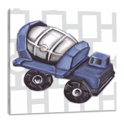 "Doodlefish - Vintage Cement Mixer Toy - There is something about wheels turning while the barrel mixes the concrete for a building project that makes boys love Cement Mixers.  This set of Doodlefish Artwork includes 18"" x 18"" Gallery Wrapped Giclee Prints featuring vintage toy trucks on sleek modern backgrounds.  This piece has a painting of a bright blue antique toy cement mixer on a grey and white links pattern.  The wall decor is   If you choose to have this piece personalized, we will place your child's name in the location that looks best based on the length of the name.  This artwork is also available mounted in a painted frame of your choice.    The finished size of the mounted piece is approximately 22""x22""."