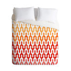 Arcturus Warm 1 Twin Duvet Cover - Need a little more heat in the bedroom? This duvet cover's warm colors and spicy, flame-like design will give your decor a shot of stimulating energy. The contemporary pattern has a slightly tribal look that would coordinate with Southwestern style influences as well as modern ones.