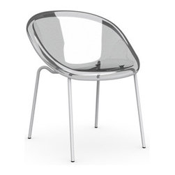 Calligaris - Bloom Chair, Glossy Optic White Rim/Matt Optic White Legs, Set of 2 - An ultra edgy, ultra space age, ultra modern chair that's sure to make an ultra cool statement in any room. The clear shell tilts on stainless steel legs, creating a comfy cocktail chair for company or personal oasis for star gazing.