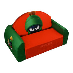 Warner Brothers - Warner Brothers Marvin the Martian Flip Sofa - 31117 - Shop for Childrens Sofas from Hayneedle.com! While your children drift off to sleep on the Warner Brothers Marvin the Martian Flip Sofa you can challenge them to a game of Warner Brothers trivia and when it's over it's time for lights-out. This fun kid-sized sofa has an all-foam body that's made of dense durable foam that's light enough to be easily portable but durable enough to withstand a life in your child's playroom or bedroom. The simple design allows the sofa to fold out into a bed making it perfect for sleepovers and it's even light enough that your kids won't even need your help. The exterior sports multiple images of everyone's favorite Martian on the durable fabric upholstery. And you're winning trivia fact is that Marvin was the Commander of Flying Saucer X-2.