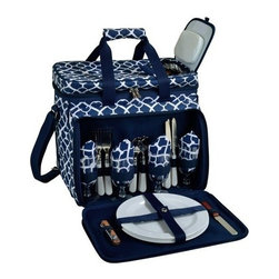 Picnic at Ascot - Picnic Cooler for Four , Trellis Blue by Picnic at Ascot - Our Picnic Cooler for Four in Trellis Blue by Picnic at Ascot includes combination corkscrew, cheese knife, acrylic wine glasses, coordinating melamine plates and napkins, stainless steel flatware. Includes hand grip & adjustable shoulder strap, extra front pocket. This fully equipped picnic cooler comes with divided Thermal Shield insulated cooler with separate sections for wine and food.