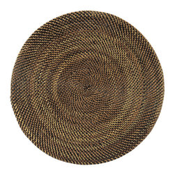 Kouboo - Round Nito Placemat Set of 2, Brown - Set the most amazing tables cape with these hand woven placemats. Whether casual or formal the tight weave with alternating colors of Nito vines adds an exotic and elegant touch. Only 0.25 inches thick, rigid and very even surface ensures wine glasses stand firm.