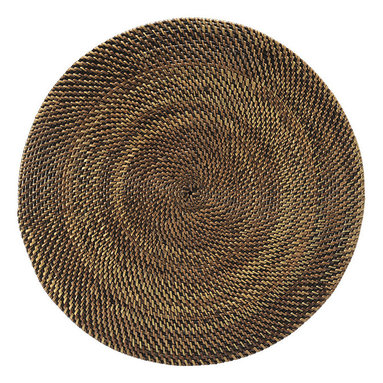 Kouboo - Round Nito Placemat Set of 2, Brown - Set the most amazing tablescape with these hand woven placemats. Whether casual or formal the tight weave with alternating colors of Nito vines adds an exotic and elegant touch. Only 0.25 inches thick, rigid and very even surface ensures wine glasses stand firm.