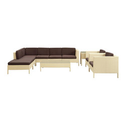 Modway Furniture - Modway La Jolla 9 Piece Sectional Set in Tan Brown - 9 Piece Sectional Set in Tan Brown belongs to La Jolla Collection by Modway Shine with hidden brilliance with this powerful force of an outdoor living arrangements. Finely constructed tan rattan seating sectionals with all-weather brown fabric cushions give a sense of space and roominess that allow for true flexibility and comfort. Aim higher and give thanks and appreciation to picture perfect days spent outside. Set Includes: One - La Jolla Outdoor Wicker Patio Armless Chair One - La Jolla Outdoor Wicker Patio Coffee Table One - La Jolla Outdoor Wicker Patio Corner Section One - La Jolla Outdoor Wicker Patio Left Arm Section One - La Jolla Outdoor Wicker Patio Loveseat One - La Jolla Outdoor Wicker Patio Ottoman One - La Jolla Outdoor Wicker Patio Side Table Two - La Jolla Outdoor Wicker Patio Armchairs Armless Chair (1), Coffee Table (1) , Corner Section (1), Left Arm Section (1), Loveseat (1), Ottoman (1), Side Table (1) , Arm Chair (2)