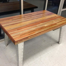 """Redwood Reclaimed Wood Dining Table - Reclaimed Wood Dining Table- The reclaimed wood dining table measures 5' feet long by 3' feet wide by 30"""" inches tall. Available with a variety of leg options this table comes in either oak or maple with many color options."""