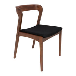 Nuevo Living - Bjorn Dining Chair, Set of 2, Black Fabric/Tan Walnut - Here's to the sense and sensibility of midcentury modern designers! Framed in solid hardwoods, these handsome modern dining chairs curve graciously to the shape of your body. The contoured seat is covered in a soft mostly wool fabric, and feel the backrest wrap around you in a friendly you're-getting-your-favorite-dessert-tonight hug.