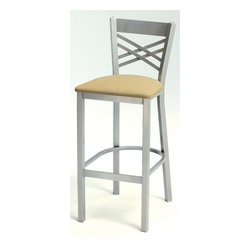 """Grand Rapids Chair - Melissa Anne Cross Back Barstool (24"""" - 36"""" Seats) (Set of 3) - A tremendous variety of back options lets you achieve a distinctive look for your Melissa Anne Cross Back Side Chair. Perfect for a cafe, restaurant, or office, this chair will look great wherever you decide to put it. Match it with a barstool for a complete set. All Grand Rapids chairs and barstools are highly customizable, so be sure to check out all the options listed. Please call if you dont see anything that meets your needs, because there's a good chance that Grand Rapids can make any product suit your preferences. Features: -Metal chairs are manufactured from high quality plating grade steel-significantly stronger than the industry standard. -Hand tailored, coped and brazed joints to maximize strength and prevent rust. -Oven-baked epoxy/polyester finish. -Two inches of HR (High Resilience) foam, considered the Cadillac of cushioning. -Made in the USA. -Constructed for commercial/restaurant usage. -Premium carpet glides. -Seat Height  If you need a specific height that is not listed be sure to call. -Upholstery  Grand Rapids carries many fabric options, if you do not see anything to your liking or have your own fabric, please call and one of our customer service representatives will assist you with your order. -CAL 133  If you need any of Grand Rapids chairs to meet California bulletin 133 please call. -CAL 117 Standard. Dimensions: -Seat height: 29.75. -Seat: 18"""" H x 17"""" W x 19"""" D. -Overall: 42"""" H x 16.25"""" W x 18.75"""" D, 35 lbs."""