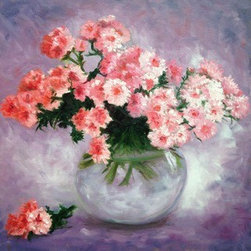 Vase Of Pink Flowers (Original) by Emma Bell - The perfect arrangement. An abundance of pink flowers, fill the glass bowl and spill over the top. a lonesome stem lands on the table making for the perfect composition.